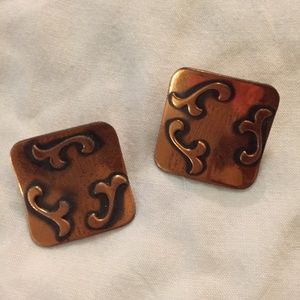 Vintage copper tone clip-on earrings